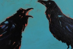"Another long, boring story told by a crow – 8""x10"" acrylic on board"